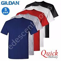 5 Pack Mens Gildan Plain Tshirt 100% Heavy Cotton T-shirts Multi Colors New Lot