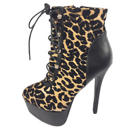 Womens Ladies Leopard Print Faux Leather High Heel Shoes Ankle Boots Size 5 New