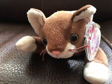 "Ty Beanie Pounce 1997 Brown and Beige Cat 8.5"" Stuffed Plush Animal Pellets Rare"