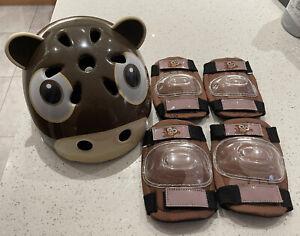 Kids Helmet & Knee / Elbow Pads. Monkey Design. Used Once. Age 2-5 Years