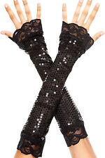 Sexy Music Legs Black Elbow Length Sequin w Lace Trim Arm Warmers