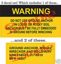 Military M816 5 ton Wrecker Ground Anchor Stickers New!