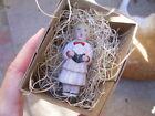 New 3D Dresden Paper Christmas Ornament Mini Church Choir Boy White Robe Hymnal