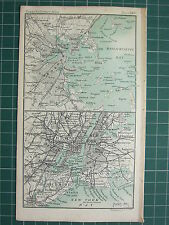 1904 SMALL MAP ~ BOSTON ENVIRONS CITY PLAN NEW YORK PLAN BROOKLYN HUDSON JERSEY