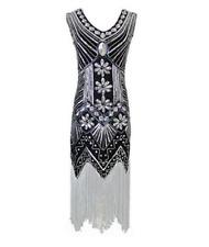 Flapper Dress 1920s Great Gatsby Charleston Sequins Beaded Fringe Dress UK 6-16