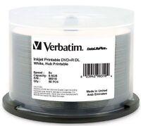 50 VERBATIM DVD+R DL 8.5GB 8X DataLifePlus White Inkjet Hub Printable 98319