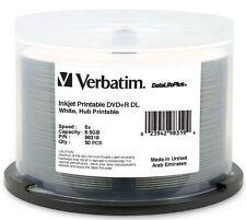 50 pk VERBATIM DVD+R DL 8.5GB 8X DataLifePlus White Inkjet Hub Printable 98319