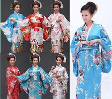 New Women's Kimono Costume Yukata Gown Japanese Floral Robe Haori Dress with Obi