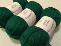 3 SKEINS CLASSIC CHUNKY YARN! GREEN 3.5 OZ / 130 YDS EA 25% WOOL 75% ACRYLIC