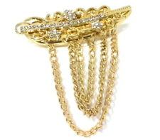 Modeschmuck Brosche Anstecknadel mit STRASS Feder Gold