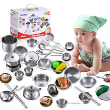 25pcs Childrens Kids Play Kitchen Toys Set Food Stainless Steel Cooking Utensils