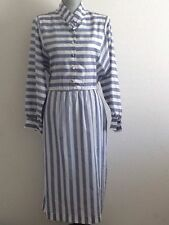 Vintage Gray and White Stripped Long Sleeve Dress