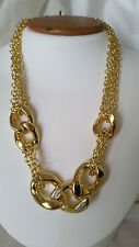 18KT Yellow Gold Bold Chain Pave' CZ Necklace - Designer 1AR by UnoAerre Italy