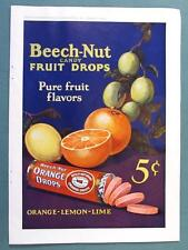AWESOME COLOR Dated Antique 1925 Orange Drop Beech-Nut Fruit Candy Ad 8 x 11.5
