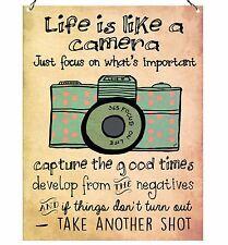 Life Is Like A Camera Cute Inspirational High Quality Metal Sign Retro Plaque