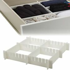 6pcs Strong Adjustable Drawer Organiser 16 Compartments Kitchen Bedroom Storage