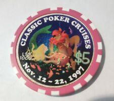 1997 CLASSIC POKER CRUISES MERMAID, TREASURE CHEST, PIRATE $5.00 GAMING CHIP!