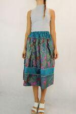 VINTAGE 80s Hibiscus Jade Green Taffeta Skirt Size S-M