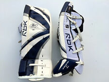 Reebok Premier Pro hockey goalie leg pads intermediate 31 navy silver new goal