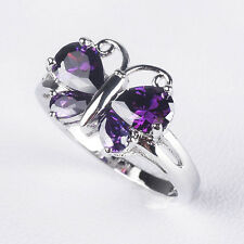 Fashion 925 Silver Filled Butterfly Ruby White Sapphire Rings Engagement Wedding