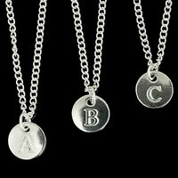 """Disc Silver Plated Initial Letter Alphabet A-Z  Adjustable Necklace 18"""""""