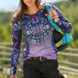 Athleta Sierra Nevada Blue Flower Motif Long Sleeve Thermal Purple Ombre M
