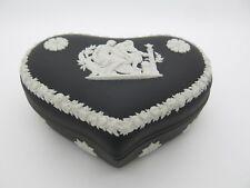 Wedgwood Jasper Heart Shape Trinket Box Tray Black Basalt Jasperware  Gift Boxed