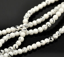 210 White With Black Splashes Glass 4mm Beads (1 strand) J18249XF