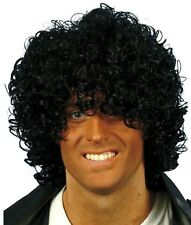 80s 1980s Wet Look Afro Fancy Dress Wig Jackson Jacko Black New by Smiffys