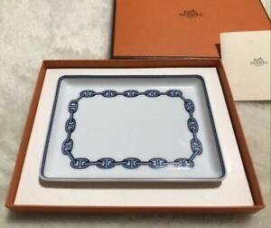 HERMES Chaine d'Ancre Blue Square plate Auth #052333