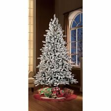 Artificial Christmas Tree Pre Lit Xmas Flocked Snow Fir 7.5 FT Clear Light Stand