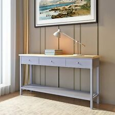 Dove Grey Console Table Stunning Kitchen Hall Table with 3 Drawers and Shelf UK