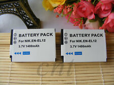 TWO Battery for Nikon ENEL12 EN-EL12 S620 S630 S610C S6100 S6200 S640 S70 S710
