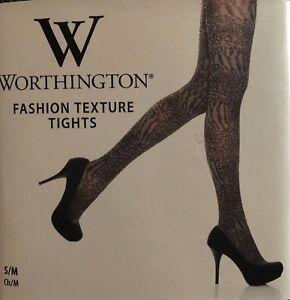 Worthington Black Animal Print Fashion Texture Tights Size S/M NWT UNOPENED!