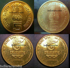 India Mule Lion Variety Commonwealth Games H Mint 5 Rs Unc Set NEW 2010 Rare
