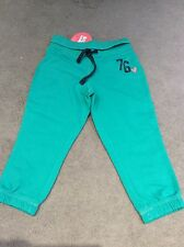 M&S JOGGERS IN 3/4 JADE COTTON WITH ROLL OVER WAISTBAND & TIE CHORD -5-6y BNWT