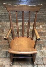 Antique Child's Wooden Rocking Chair- Windsor style- Walnut ?