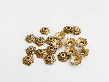 50 X Tibetana Estilo Flor Casquillas endbeads Hormiga De Oro 8 Mm, plomo y cadmio Libre