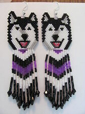 Laughing Black and white Malamute Husky Dog earrings with purple black in fringe