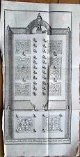 1737 – MILANO GIARDINO DI PALAZZO PERTUSATI INCISIONE ORIGINALE SU RAME STAMPA