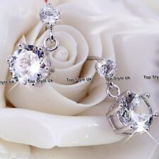 Twin Crystal Stud Dangle Silver Earring CZ Cubic Zirconia Gifts for Her Women Q1