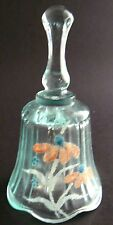 """Vintage Teal Blue Glass Hand Painted Bell 4"""" Tall (W3-6)"""