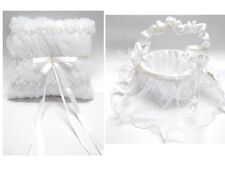NEW Wedding Flower Girl Basket Ring Pillow Pearl w Lace Flowergirl White Ivory