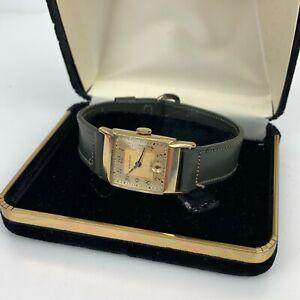 Waltham Circa 40's Cal. 750-B 17 Jewels 10K Gold Filled Men's Art Deco Watch