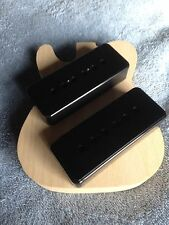 P-90 Pickup Soapbar Black Cover Set (2) Vintage Guitar Project 50mm Pole Spacing