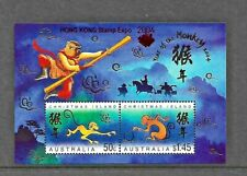 2004 Year Of The Monkey Mini Sheet Overprint Hon Kong Complete MUH/MNH as Issued