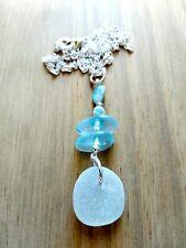 Aqua, blue sea glass & larimar bead pendant necklace
