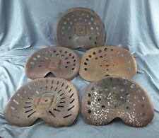 5 different Antique SEAT METAL TRACTOR Implement SEAT Vintage FARM Rusty DECOR
