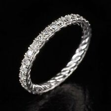 2Ct Round Cut Diamond Twist Rope Eternity Wedding Ring Band 14K White Gold Over