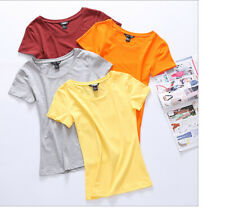 100% Cotton Solid Colors T-Shirt Women Fashion Tight Tee Tops Blouse T shirts